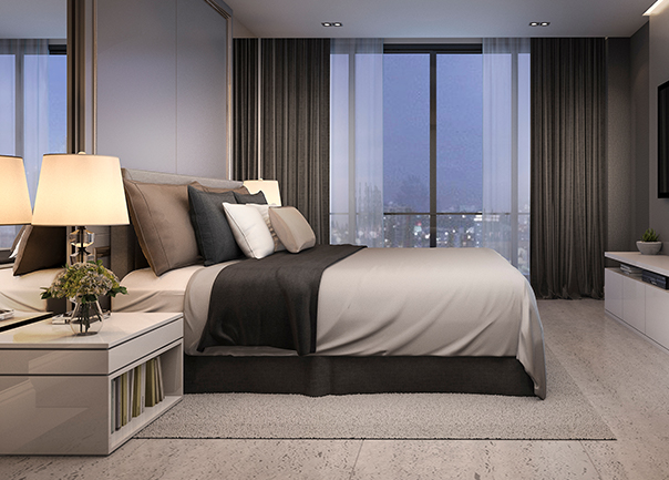 Large hotel room with city views