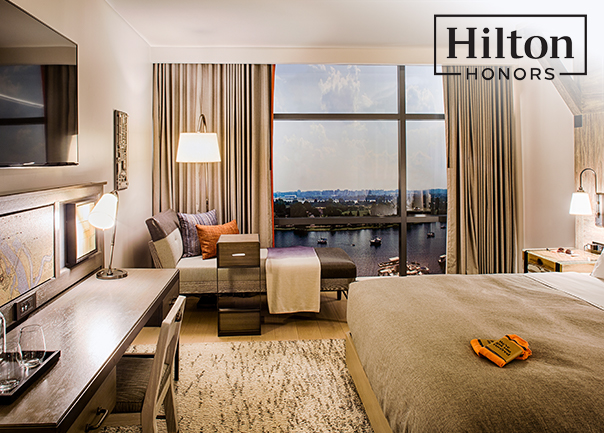 Hilton hotel room purchased using Hilton Honors Program