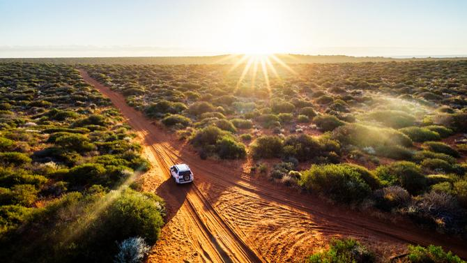 Car driving in Australian outback