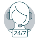 Icon of travel agent with headset and 24/7 text