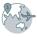 Icon of globe with aeroplane and money symbol showing destinations