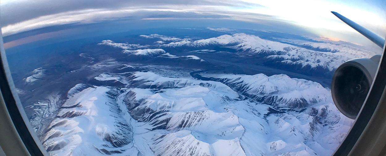 New Zealand from airplane window