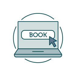 "Icon of laptop with ""book"" text overlayed"